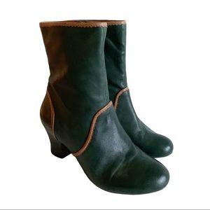 Miz Mooz Troy Olive Green Tan Trimmed Ankle Boots